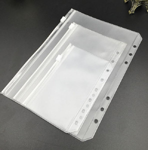 Frosted Clear Holes Binder Pockets Storage Notebooks 6 Bags Pockets Loose Leaf Punched For A6 Folders Zipper Organize Document PVC Note Bupe