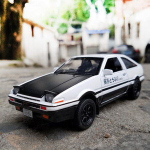 Model Initial D AE86 Alloy Cars Metal Diecast Inital Toy Car Vehicles RX7 Pull Back 1:28 Light For Children Boy Toys