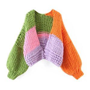 BLSQR Loose Women Knitted Cardigans Oversized Lantern Sleeve Crochet Jumper Winter Female Knitting Cardigan Coats 2020 New
