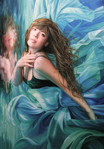 Karol Bak woman fine art painting mermaid underwater reflection vanity beautiful female feminine sexy swimming Oil Painting Print On Wall