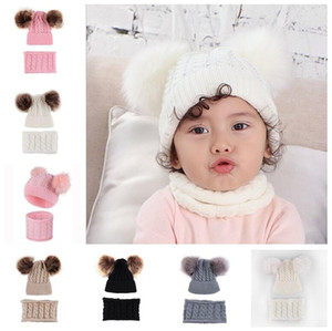 with 2 Fur Pom Balls Winter Beanies and Scarf 2 Piece Set for 0-2 Years Baby Kids Infants Twist Warm Knitting Skull Caps Headwears E102001