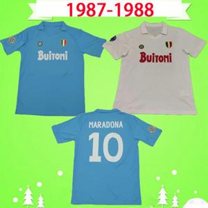 Maradona 1987 1988 Retro Napoli anniversary version Naples Soccer Jersey 87 88 classic vintage home blue away white football shirt