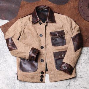 Vintage Mens Cargo Coat Pockets Canvas Patchwork Cow Genuine Leather Jacket Male Retro Safari Style Slim Fit Short Outwear Coat