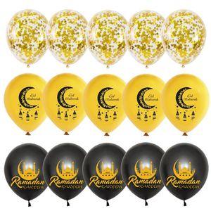 15pcs 12inch Mixed Gold EID MUBARAK latex balloons Gold Star confetti balloons set helium globos for Muslim Islamic Party Decor