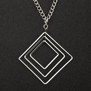 Colares longos Collier Femme Geometric Jóias Bijoux Praça Colar multicamadas geométrica
