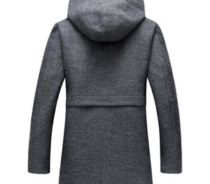 Winter Long Hooded Trench Coat Men 2017 Winter Casual Men's Wool Hoodie Trench Coats Zipper Slim Fit Mens Windbreaker Pea55