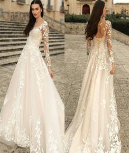 Gorgeous A-line Wedding Dresses Bohemia Long Sleeves Beach Bridal Gown Boho Chic Lace Up Custom Made Appliqued Lace Vestidos De Novia