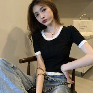 Net red sleeve T-shirt women's short slim summer sexy tight knitted thin top new fashion in 2021 LMBC