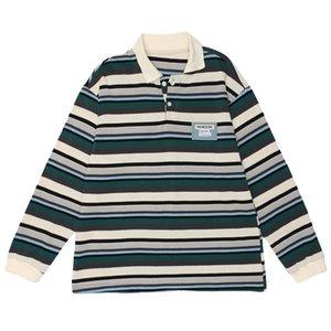 New Striped Embroidered Polo Sweatshirt Hip Hop Streetwear Sherpa Hoodie Men Women 2021 Winter Cotton Pullover Men2D0E