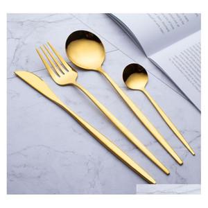 410 Acciaio inossidabile Coltellery Dintingware a buon mercato 4pcs Black Gold Platware Set Paletterie in acciaio inox Set di posate Set di coltelli Set di stoviglie