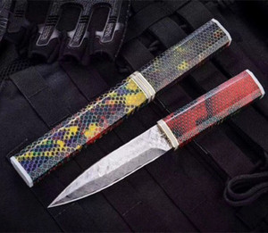 Symphony Cellular Damascus Magic Sword 4.7 inch straight knife fixed blade knife Camping Survival Gift Knife Outdoor Tools a2806