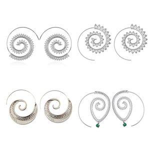 Bohemia Ethnic Geometric Round Spiral Drop Earrings Exaggerated Love Heart Whirlpool Gear Earrings for Women Beach Jewelry Gift