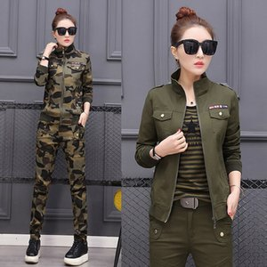 Plus Size 5XL Women Costume Spring Cotton Military Camouflage Two Piece Set Top and Pants 2XL 3XL 4XL Women's Suit 201009