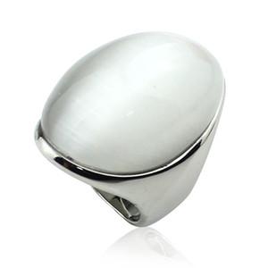 Luxus Weiße Farbe Oval Form Katze Augenstein Für Frauen Edelstahl Glatte Polierringe Kugel Opal Ring