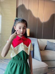 2021 summer baby girls dress Fashion kids girl Polo Dresses Children Party dress Sweet girls short sleeved long dress tops