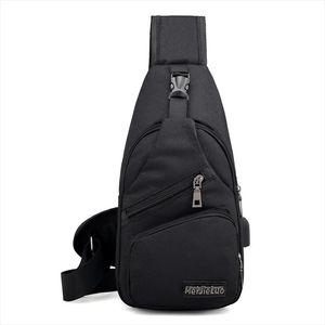 Mens Crossbody Chest Bags Men USB Charging Headphone Plug Designer Messenger Oxford Shoulder Bag Diagonal Package 2020 Travel