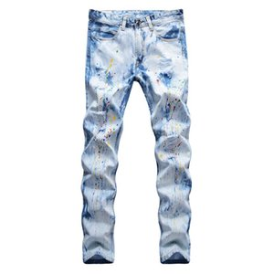 Men's Painted Light Blue Ripped Jeans Tie and Dye Snow Washed Slim Straight Denim Pants