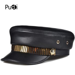Pudi Mujeres Genuine Leather Hat Cap Boenet 2020 Ins Hot Female Sheepskin Caps de béisbol Hats Beret HL005