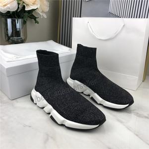 2021 Erkek Kadın Rahat Ayakkabılar Çorap Ayakkabı Hız Spor Örme Streç Sneakers Hız Eğitmenler Scarpe Çıplak Chaussures Siyah Grafiti Kutusu ile