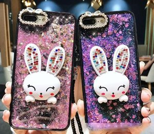 Bling Glitter Dynamic Quicksand Liquid Case For iPhone 11 Pro Max xs max xr X Cute Diamond Rabbit Phone Cases with lanyard