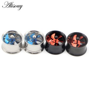 Alisouy 2pc Blue Red Propeller Fan Style Ear Tunnel Plugs Piercing Gauges Double Flared Expander Kit Ear Stretching Body Jewelry