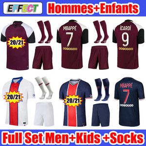 2020 2021 MBAPPE ICARDI Футбольные майки 20 21 MAILLOTS DE FOOT Paris Kids Kit SETS enfants Socks Soccer Jerseys