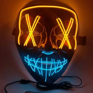 Face Hot Sell Theme Led Mask 9 Decoration Colorful With Face Blood Mask V-Shaped 2020 Horror Halloween Party Designer Halloween Masks Awtso
