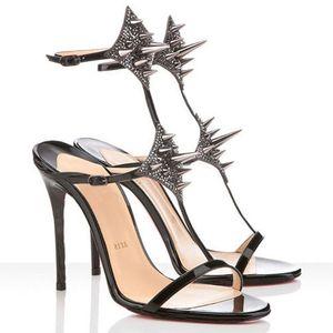 Estate delle donne sexy di alta sandali rossi inferiore Tacchi alti Lady Max Spike 100 millimetri in pelle Strass Dress sandali dorati del nastro della festa nuziale di Pompe