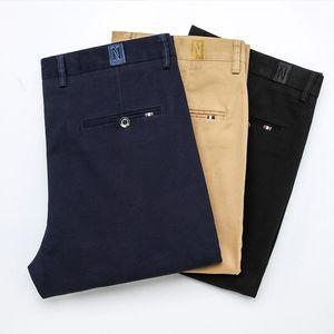 Men's Classic Solid Color Business Casual Pants Fashion Regular Fit Stretch Khaki Cotton Trousers Male Autumn Brand Blue Black