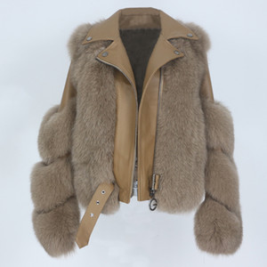 OFTBUY 2020 Real Coat Vest Winter Jacket Women Natural Fox Fur Genuine Leather Outerwear Detachable Streetwear Locomotive