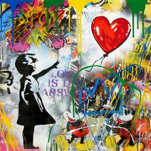 Mr. Brainwash Bansky Graffiti Kunstdekor Mädchen mit Ballon Wohnkultur Ölgemälde auf Leinwand Wandkunst Leinwandbilder 201103