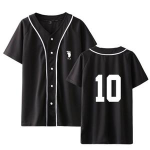 Аниме Haikyuu Baseball T Shirt Мужчины / женщины Karasuno High School Uniform Спортивная одежда с коротким рукавом Крупногабаритные Футболка Hip Hop печати