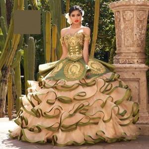 Two Pieces Olive Green Quinceanera Dresses Embroidrey vestido de 15 años 2020 Ruffles Beaded Sweet 16 Dress vestidos de xv años