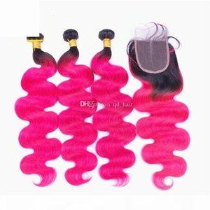 어두운 뿌리 핫 핑크 인간의 머리카락 묶음 레이스 클로저 옴 브레 1B 핑크 브라질 버진 바디 웨이브 인간의 머리카락 3DLES 탑 클로저
