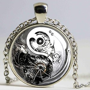 Free shipping jewelry retro steampunk gear Yin Yang Tai Chi Necklaces For Women Necklace&Pendants Christmas Gift Girls