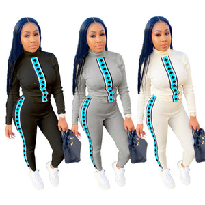 womens designer tracksuit long sleeve outfits shirt pants two piece set skinny shirt tights sport suit pullover pants hot selling klw5391