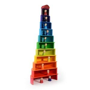 어린이 크리 에이 티브 어린이를위한 아기 빌딩 블록 대형 몬테소리 교육 장난감 크기 레인보우 스태커 나무 장난감