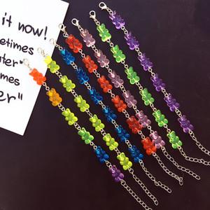 8 cores bonito urso artesanal pulseira arco-íris cor de doces pulseira gummy para mulheres meninas judy jóias bransoletki damskie