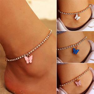 Gold Color Butterfly Anklet Strass cristallo Braccialetto caviglia BOHO Beach Anklets per le donne Sandali Bracciali piede Gioielli femminili