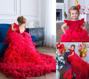 2021 Red Flower Girls' Dresses Pageant Ball Gown Ruffles Short Sleeves Jewel Neck Tiered Skirt Organza Handmade Flowers Birthday Party Wear