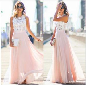 In Stock Cheap Long Bridesmaid Dresses 2021 Blush Pink Lace Chiffon Bohemian Beach Junior Maid Of Honor Wedding Guest Dress