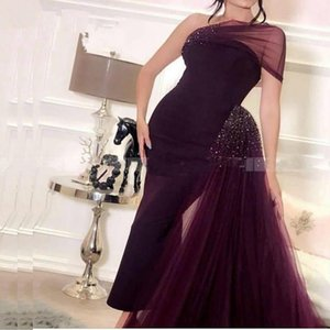 Purple Mermaid Evening Dress 2020 Arabic One Shoulder Crystal Beaded Prom Dresses Women Formal Party Gowns
