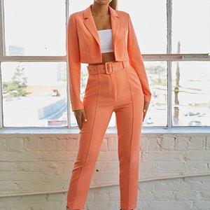 Orange Pant Suits Uniform Belt Lapel Jacket and Long Pant Short Blazer Set Women OL Two Piece Suits 2019