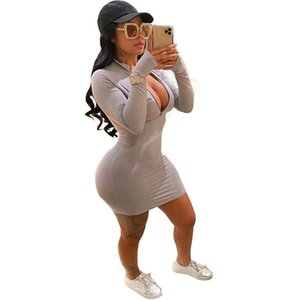 Autumn Casual Bodycon Dress Women Clothes Long Sleeve Front Zipper Plus Size Dresses for Women 4xl Club Mini Dress Dropshipping