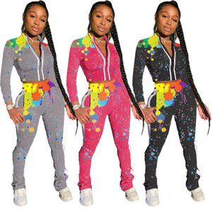 Womens cardigan jacket tracksuits outfits 2 piece set jogging sport suit sweatshirt tights sport suit women zipper tops pants suit klw5279