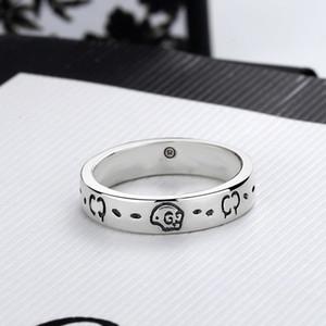 Mulheres Homens Crânio Carta Ring Carta Dedo Anel com Selo Moda Jóias Acessórios Tamanho 6/7/8/9 Alta Qualidade