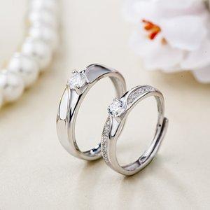 Anello in argento autentico S925 anello in argento, bella curva in argento sterling in argento coreano per uomini e donne, proposta di matrimonio