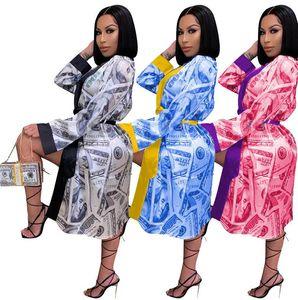 Femmes Designer Vêtements Dollar sexy Mode imprimé manches longues Pajama Home Weanger Nightdress Femmes Home Robe SleepShirts Manteau CZ102802
