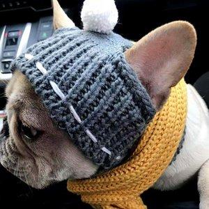 الشتاء الكلب كاب عيد الميلاد الحيوانات الأليفة القبعات الكلب اكسسوارات الصوفية جرو هات مع الكرة أغطية الرأس للشركات الصغيرة الكلاب الفرنسية البلدغ منتجات الحيوانات الأليفة LJ201006