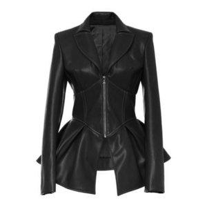QUEENUS Faux Damen-Jacken-Mantel-Schwarze Gothic Art und Weise faltet V Ansatz 2019 Frühling weiblichen PU-Leder-Plus Size Jacket Coats